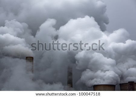 coal power station with emissions - stock photo