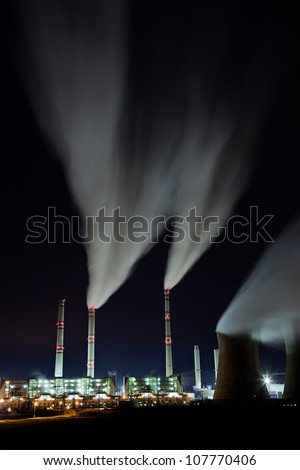 Coal powerplant air emission at the night