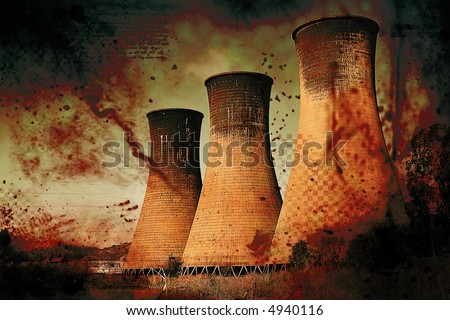 Coal powerstation with heavy grunge effect. Global warming concept. Some copyspace.