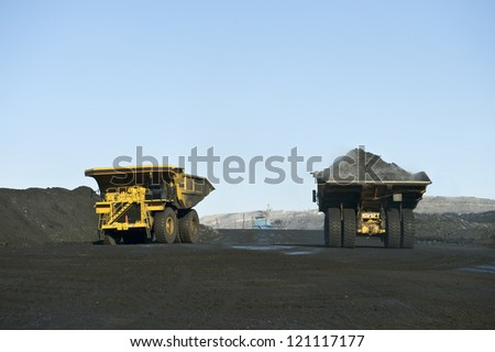 Coal production, minerals, earth subsoil, black gold, coal, the dump heavy-load truck, the truck,