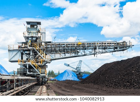 Coal stacker and Coal Reclaimer are mining machinery, or mining equipment in the mining industry that large or huge machine used in bulk material handling in stockpile as the Coal Production. #1040082913