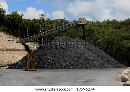 Coal stockpile and conveyor belt
