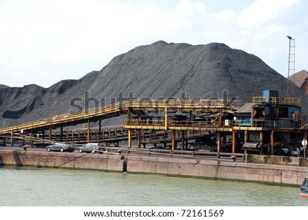 Coal terminal in the port of Antwerp (Europe)