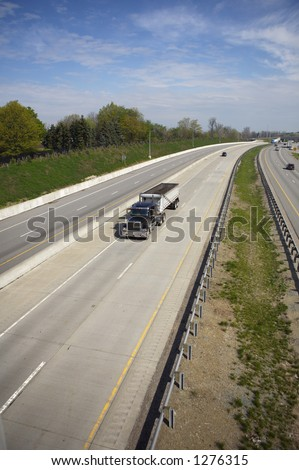 Coal Truck Hauler Wide View on the Highway