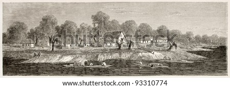 Coari village, on the bank of the lake of the same name, Brazil. Created by Riou, published on Le Tour du Monde, Paris, 1867