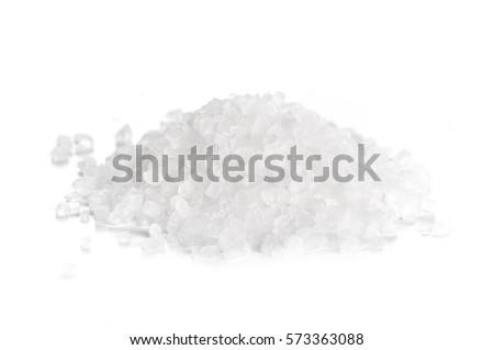 coarse sea salt on white background. Foto d'archivio ©