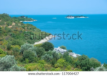 coast and islands of Skadar Lake on the border between Albania and Montenegro