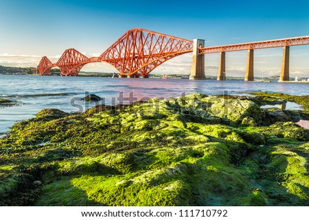 Coast at low tide near the Firth of Forth Bridge in Scotland
