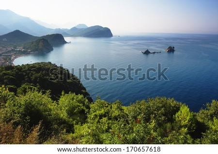 oast between Budva and Bar, Montenegro. In the bay are two islets called Katic and Sveta Nedjelja