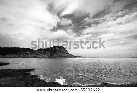 coast, black and white - stock photo