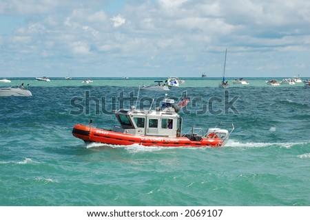 coast guard boat in Summer time on Michigan Lake (Chicago area)