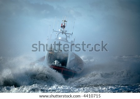coast guard during storm in ocean