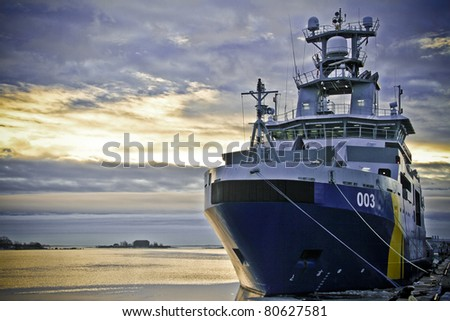 Coast Guard Ship at sunrise
