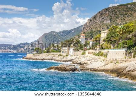 Coast in Cap d'Ail, Cote d'Azur, France Photo stock ©
