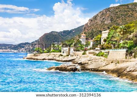 Coast in Cap d'Ail, Cote d'Azur, France Foto stock ©