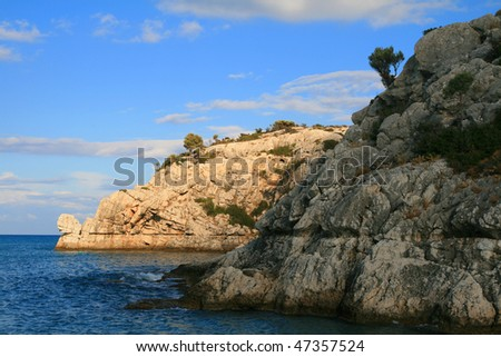 Coast -landscape of Mediterranean sea at Rhodes Island, Kolymbia