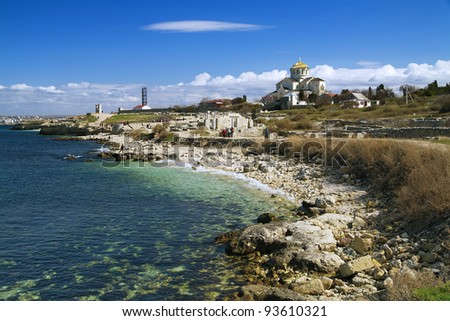 Coast of Black Sea at the National Preserve of Tauric Chersonesos, Sevastopol, Crimea, Ukraine