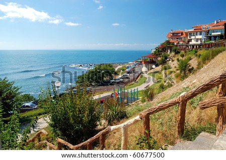 Coast of Black Sea in the ancient city of Nessebar, Bulgaria