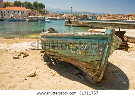 Coast of Chania, Greece Crete - stock photo