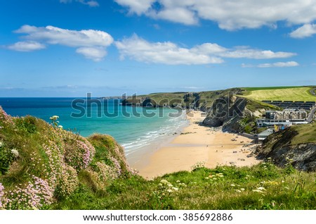 Coast of Cornwall with a Sandy Beach and Blue Sky