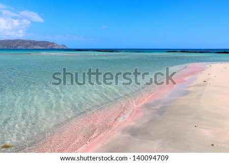 Coast of Crete island in Greece. Pink sand beach of famous Elafonisi (or Elafonissi).