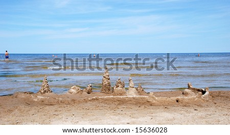 Coast of gulf of Riga in Jurmala - stock photo