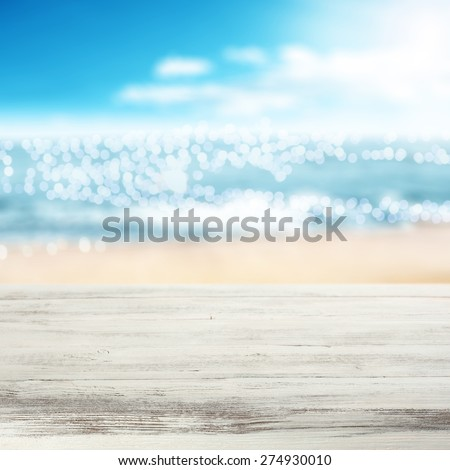 coast of sea in blurred background and white desk  #274930010