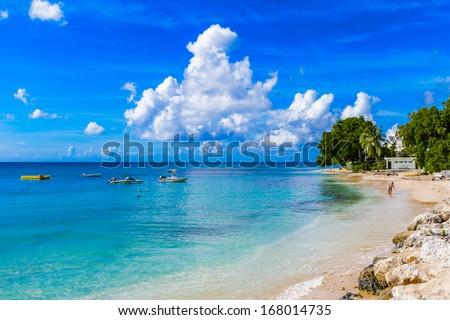 Coast of the Carribean Sea, Bridgetown, Barbados Foto stock ©