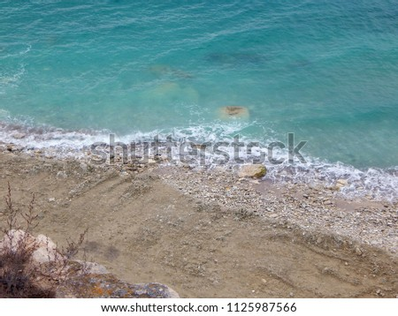 Coast of the Caspian Sea. View from above. The month of February.