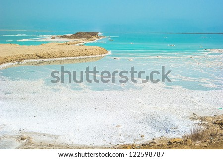 Coast of the Dead Sea, Israel, the deepest hypersaline lake in the world. With 33.7% salinity,