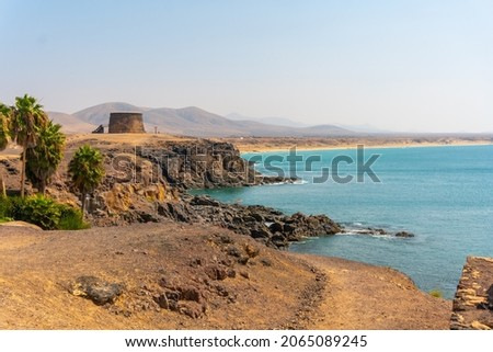 Coast of the tourist town of El Cotillo to the north of the island of Fuerteventura, Canary Islands. Spain