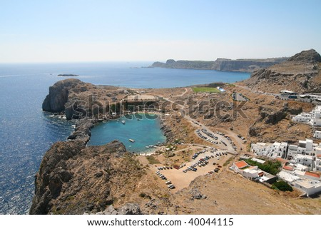coast, St.Paul's Bay, Lindos in Rhodes island, Greece