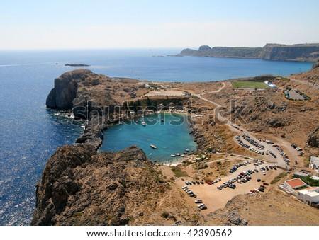 coast, St.Paul's Bay, Lindos in Rhodes island, Greece - stock photo