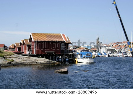 Coast village in Bohuslan Sweden - stock photo