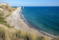 Coastal area of the famous attraction of the Rock of Aphrodite, Petra tou Romiou at Paphos district in Cyprus