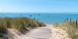 coastal area with sand beach grass entrance to Atlantic ocean in Ile de Noirmoutier France in web banner template header
