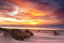 Coastal Beach Sunset Sky, Sand Dunes and Super Moon