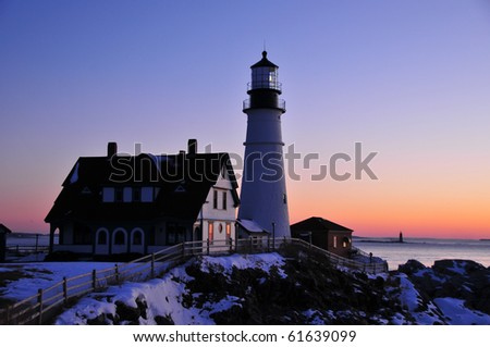 Coastal Cape Elizabeth Lighthouse in Maine at Sunruse - stock photo