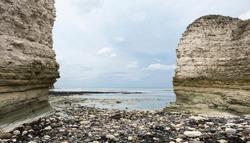 Coastal cliffs at low tide
