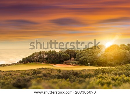 Coastal Golf Course at Sunset