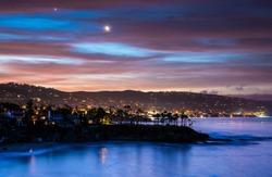 Coastal Landscape Photograph of Orange County, California beach at sunset