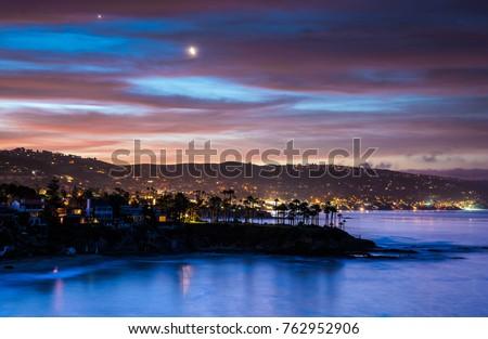 Coastal Landscape Photograph of Orange County, California beach at sunset #762952906