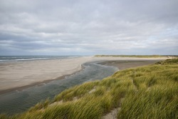 Coastal landscape with fresh water stream running into the salt north sea on the beach surrounded with dunes and with waves braking on the sandy shore on the background