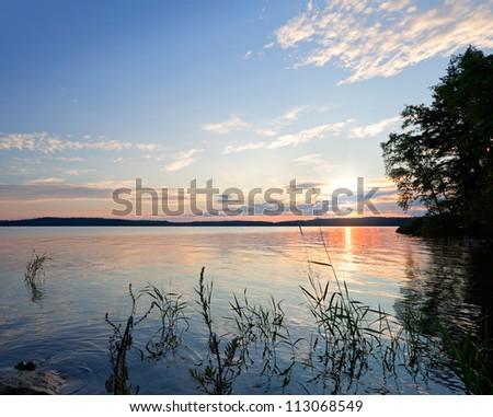Coastal morning landscape. Saimaa lake, Finland - stock photo