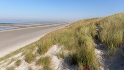 Coastal path and sand dunes in the Bay of Somme