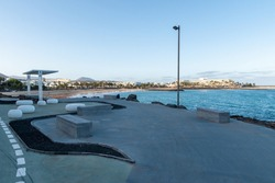 Coastal promenade along the ocean in the spa town of Costa Teguise, Lanzarote, Canary Islands, Spain