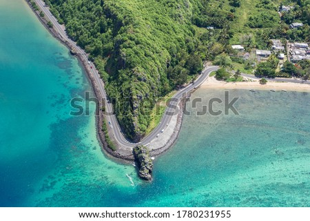 Coastal road facing the turquoise lagoon, aerial view by drone, Bel Ombre, Baie Du Cap, South Mauritius, Indian Ocean, Africa Сток-фото ©
