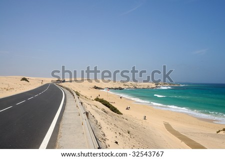 Coastal road on the Canary Island Fuerteventura, Spain