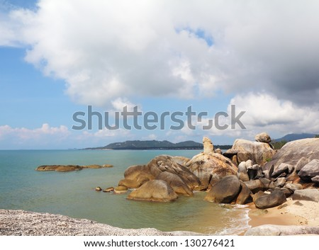 Coastal rocks of the surprising, freakish form. Koh Samui, Thailand - stock photo