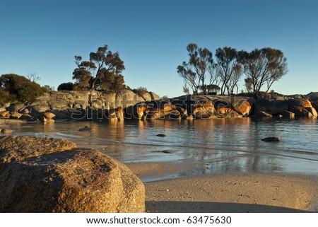 Coastal scene, Bay of Fires, Tasmania,Australia - stock photo